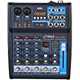 Pyle Professional Audio Mixer Sound Board Console System Interface 4 Channel Digital USB Bluetooth MP3 Computer Input 48V Phantom Power Stereo DJ Studio Streaming FX 16-Bit DSP Processor - (PMXU43BT)