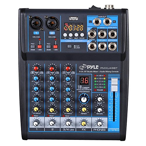 Pyle Professional Audio Mixer Sound Board Console System Interface 4 Channel Digital USB Bluetooth MP3 Computer Input 48V Phantom Power Stereo DJ Studio Streaming FX 16-Bit DSP processor - (PMXU43BT) Channel Audio Mixing Console
