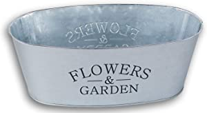 Mini Metal Farmhouse Oval Shaped Garden Planter Pail - ''Flowers & Garden'' - 10.5 x 4 Inches