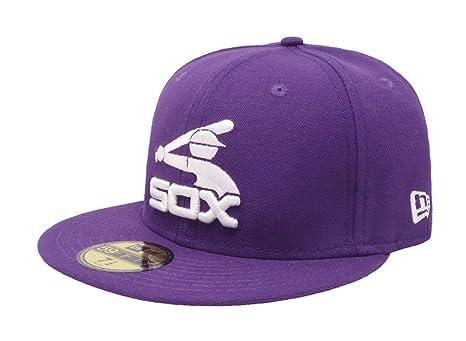 Amazon.com   New Era Hat MLB Chicago White Sox Coop Purple Fitted ... c866da39a46