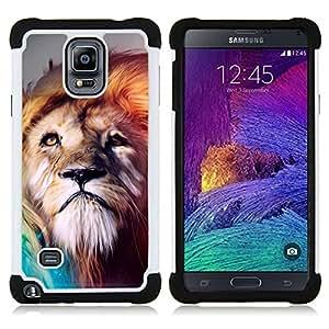 """Samsung Galaxy Note 4 IV / SM-N910 - 3 en 1 impreso colorido de Altas Prestaciones PC Funda chaqueta Negro cubierta gel silicona suave (Pintura Majestic Lion"""")"""