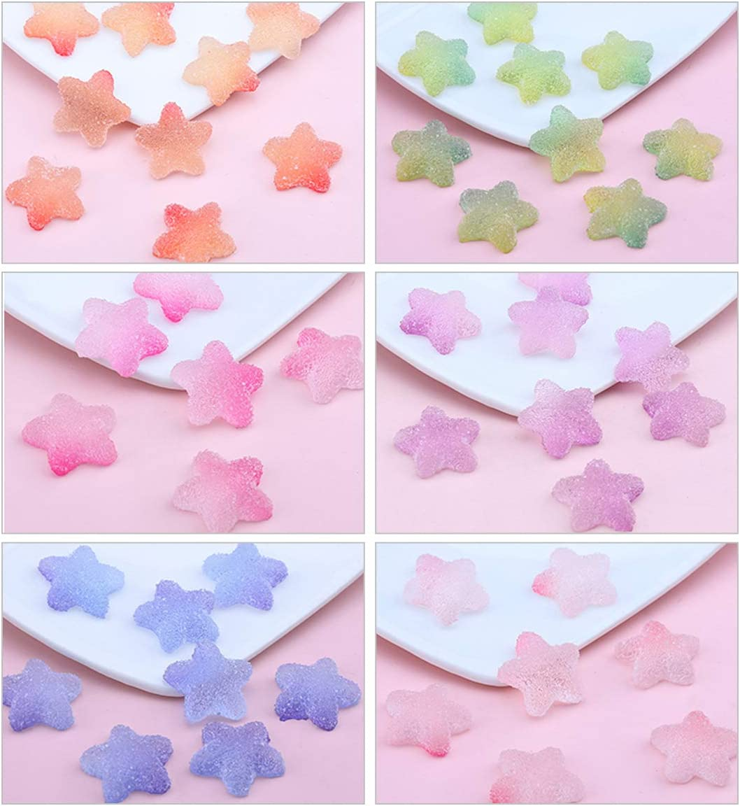 iSuperb 60pcs Slime Charms Mixed Candy Resin Charms Star Cabochon Mini Candy Model Clay Polymer Slime Beads for DIY Earrings, Pendant Decoration Accessories (Star-shape)