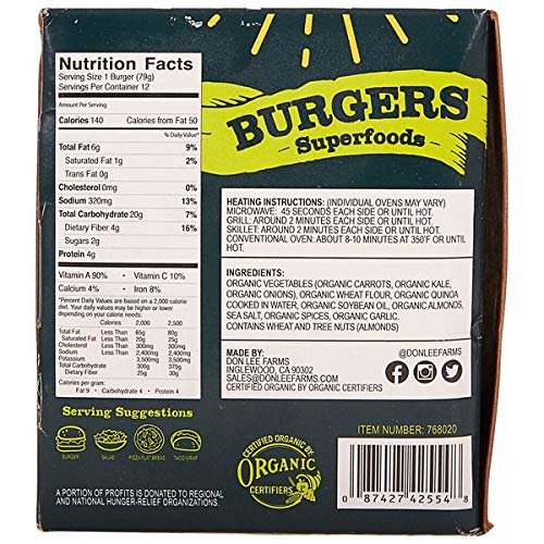 DonLee Farms expect More Organic Vegan Burgers, 2 lb 1.6 oz by EVAXO