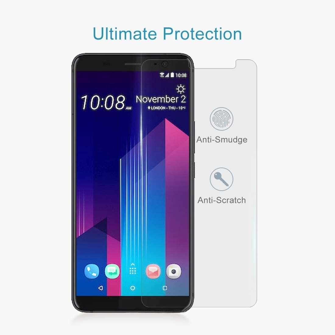 0.26mm 9H Surface Hardness 2.5D Curved Edge Tempered Glass Screen Protector LGYD for 50 PCS for HTC U11