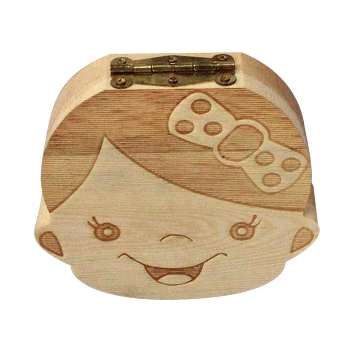 Zinniaya Caja de almacenamiento de caja de dientes de beb/é creativa Caja de almacenamiento de dientes de madera para ni/ños Caja de organizaci/ón Caja de dientes de leche Recuerdo para ni/ñas Ni/ños