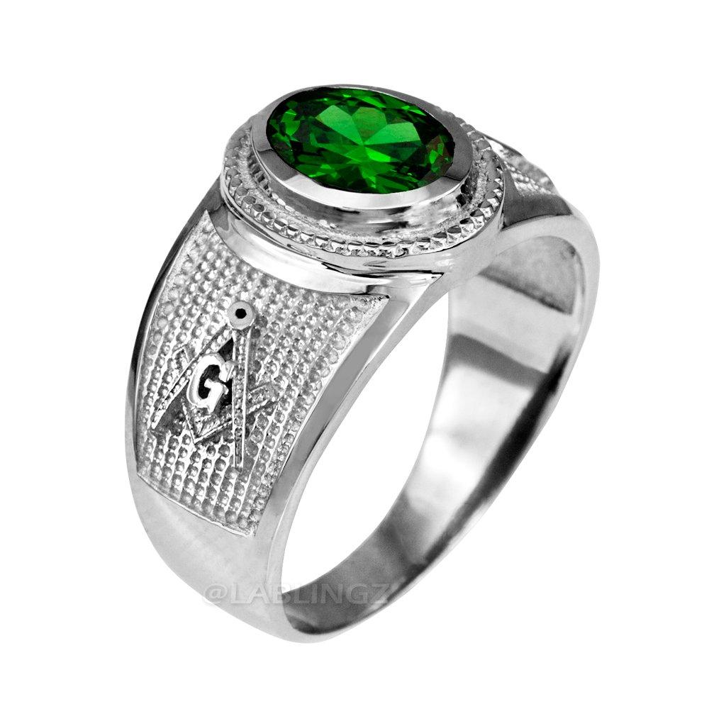 Sterling Silver Masonic CZ Birthstone Ring