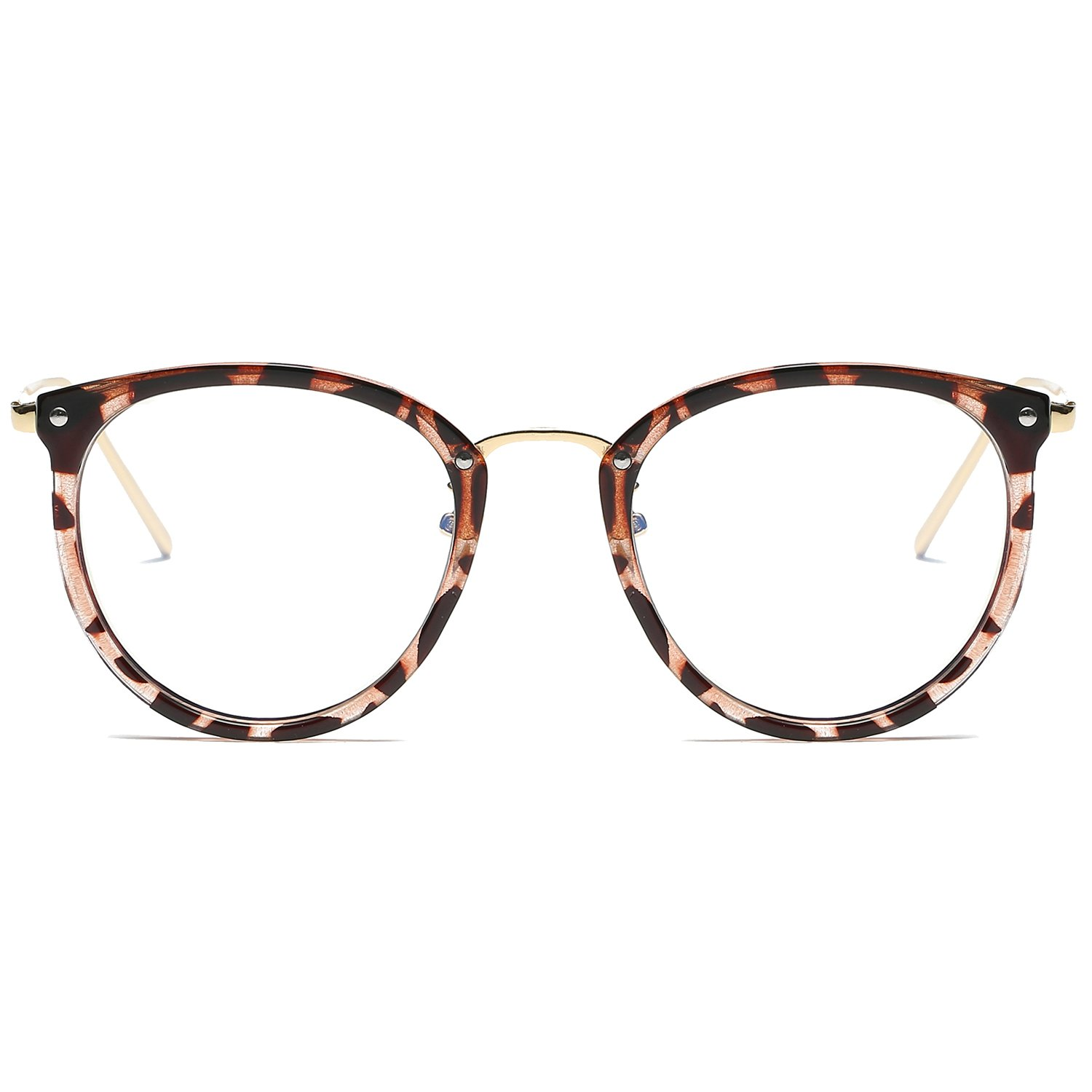 6d44e4cc04f SOJOS Round Women Eyeglasses Fashion Eyewear Optical Frame Clear Glasses  SJ5969 With Havana Brown Frame Gold Temple  Amazon.in  Clothing    Accessories