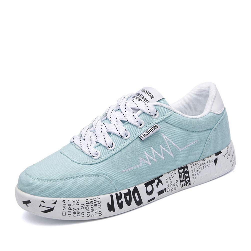 bluee T-JULY Spring Summer Women Casual Breathable shoes Canvas Sneakers Graffiti Ladies shoes