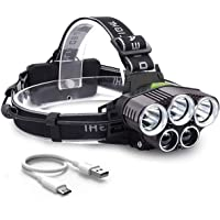 Seedary Linterna LED Frontal Lámpara Led para Cabeza USB recargable, 8000LM, 5 Modos Luz de Bicicleta IPX-6 Impermeable, Foco Luces Headlamp Faros LED, Lámpara de Cabeza para Campismo, Senderismo, Ciclismo, Pesca, Correr(Incluye 2x 18650 Baterías)