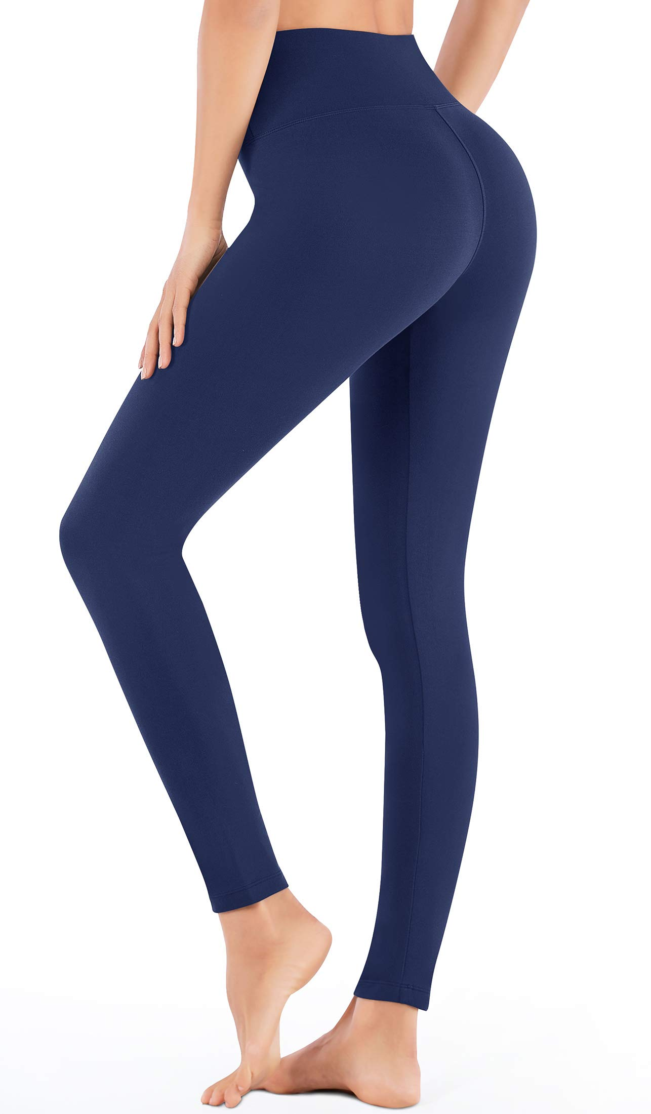 IUGA High Waisted Leggings with Inner Pocket, Non See-Through Workout Stretch Leggings for Women (Dark Blue 890 Pants, X-Small)