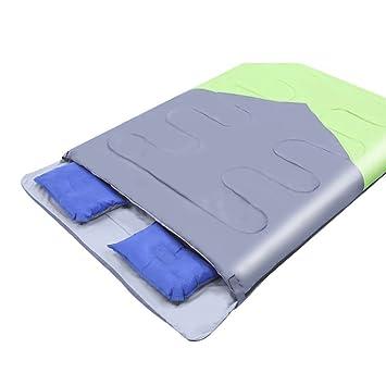 S Sobre Saco De Dormir Al Aire Libre Almuerzo En El Interior Senderismo Para Adultos Camping Pareja Saco De Dormir Doble,GreenWithGray-(190+28)*150cm: ...