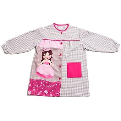 Dyneke Bata escolar botón gris Princess (personalización opcional gratuita con nombre bordado)(Talla