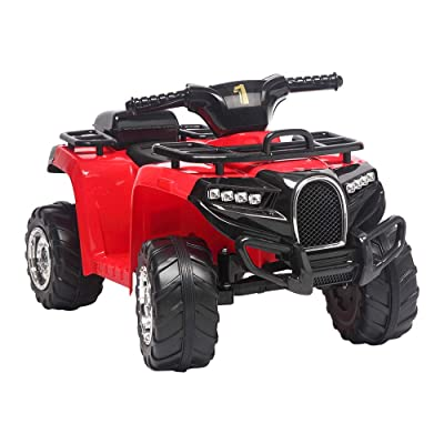 QISE 6V Kids Electric 4-Wheeler ATV Quad Ride On Car Toy,Powered Kids Electric Vehicle,Small Beach Bike Single Drive with Treaded Tires, LED Headlights,Music Board,Electric Ride on Toys: Toys & Games