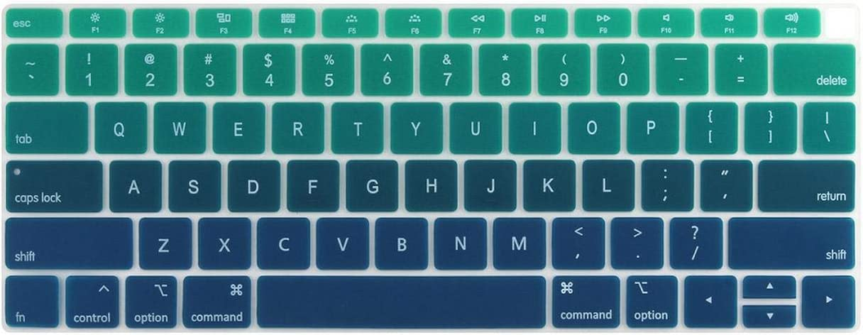 Silicone Keyboard Cover for MacBook New Air 13 Model A1932 2018 2019 US Enter English Alphabet-White to Pink