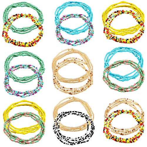 Lorfancy 18pcs Waist Beads for Women Girls African Body Chains Jewelry Belly Beaded Chains Bikini Chain Jewelry Stretchy Elastic String Colorful Necklace Bracelet Anklet for Girls Women Summer Jewelry