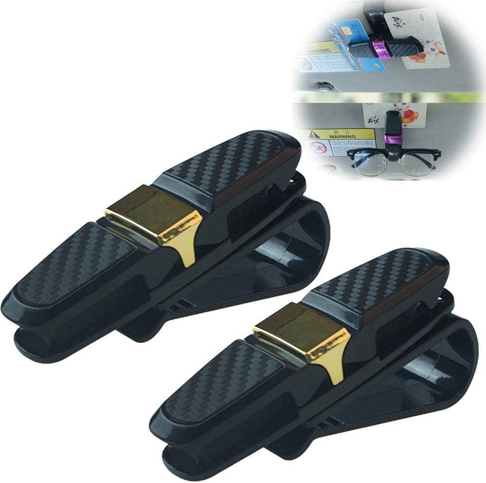 DokFin 2er-Pack Brillenhalter f/ür Auto Sonnenblende 180-Grad-Drehhalter f/ür Auto-Brillen doppelter Sonnenbrillenclip mit Ticketkartenhalter Sonnenbrillenhalterung