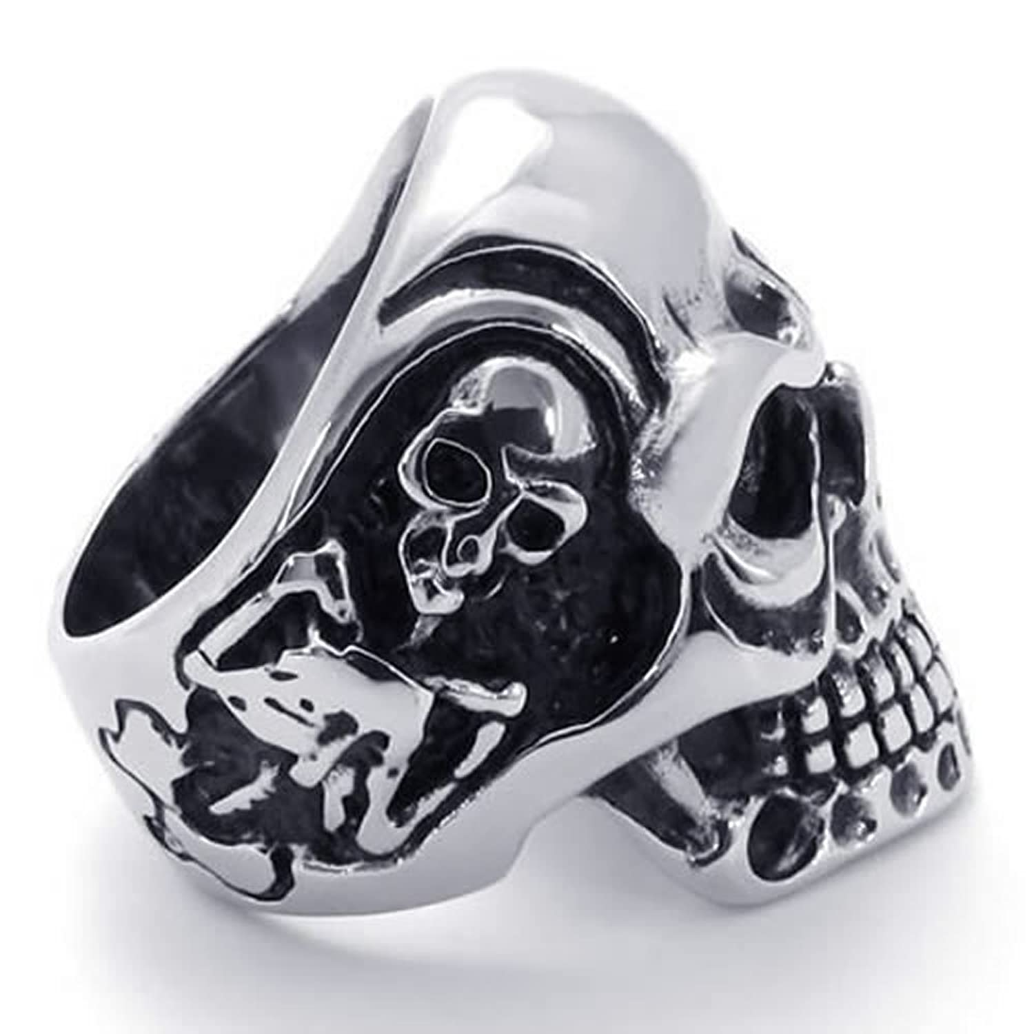 pin ring biker with sterling rocker bub silver wings rings gothic skeleton skull