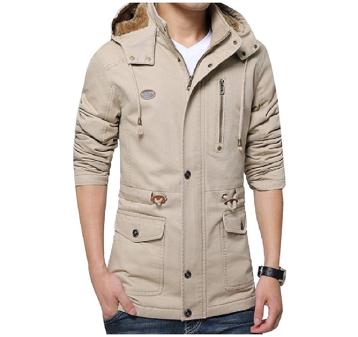 YUNY Mens Wash Plus Size Sherpa Lined Thicken Mid-Long Parka Jackets Khaki M