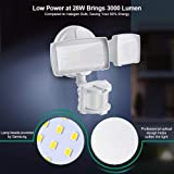 LED Security Lights, 28W 3000LM Motion Sensor Light Outdoor, GLORIOUS-LITE Super Bright 2 Head Outdoor Flood Light, 5500K-6000K, IP65 Waterproof, ETL Certified for Garage, Yard, Porch - White