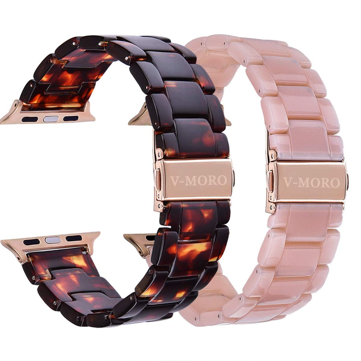 V-MORO Compatible Apple Watch Band 38mm 40mm Women Men- 2 Pack Resin iWatch Band Bracelet with Copper Stainless Steel Buckle for Apple Watch Series 4 Series 3 Series 2 Series 1 (Tortoise+Pink, 38mm)