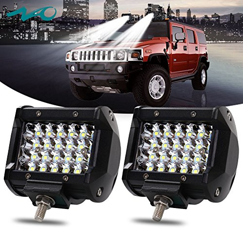 NAO 2PCS 4'' 144W LED Pods LED Light Bar Work Light Spot Beam Driving Lights Quad Row Off road Fog Lamps for Truck Jeep ATV UTV SUV Boat Marine,12-month Warranty - Truck Accessories Plow