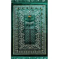 Modefa FREE Prayer Cap & Beads, Islamic Prayer Rug Janamaz - Plush Velvet BEST Quality Wide (Green)