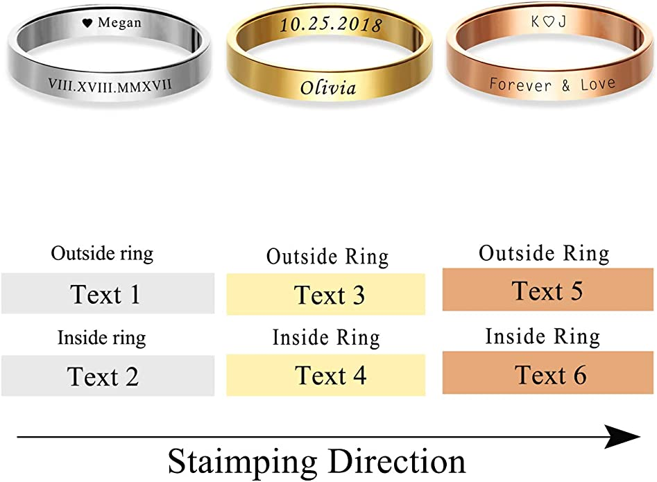 Zysta 3PCS Pack Women Fashion Cool Knuckle Stacking Rings Free Engraving Stainless Steel 3mm Wide Band Custom Midi Ring Size 5-8