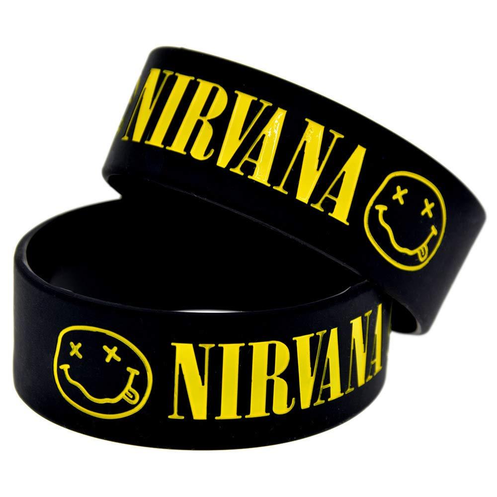 HAIHF Pulsera de Silicona 1 Pulgada Pulsera Nirvana Pulseras de Silicona Nirvana Band Star 3 Pares