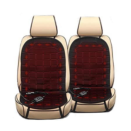 Audew One Pair Car Heated Seat Cushion - 12V Winter Seat Heater Pad Cover Seat Warmer Black (2 Pack)