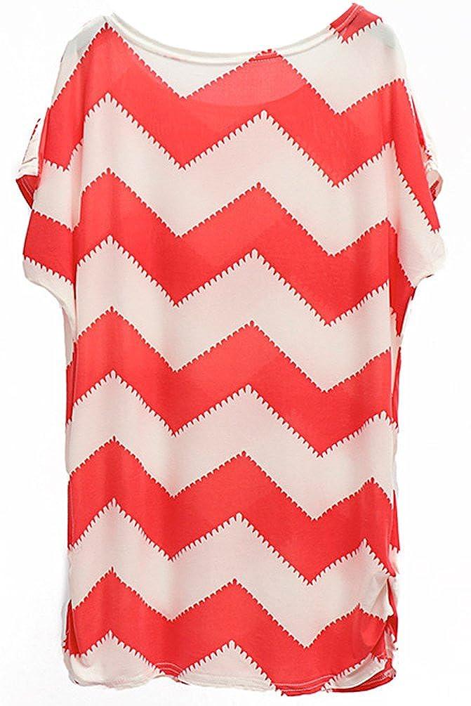 ... Tops Manga Corta Estampadas Camisas Tunicas Fiesta Moda Largo Gordita Camiseras Cuello Redondo Patrón De Onda T Shirt Rojo: Amazon.es: Ropa y accesorios