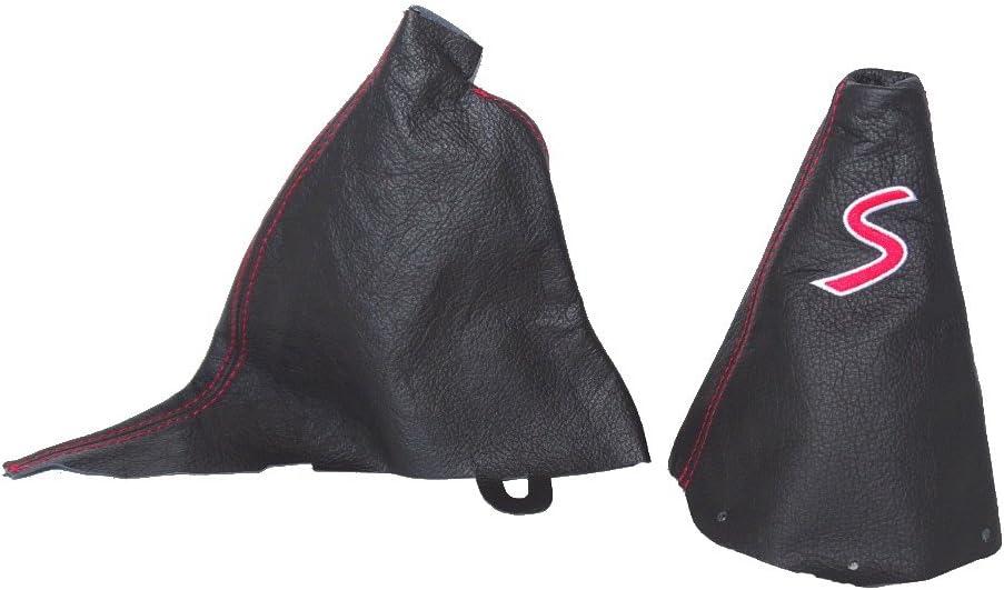 For Mini Cooper R50 R53 S-One 2001-2006 Manual Shift /& E Brake Boot Black Leather Blue S Embroidery Logo