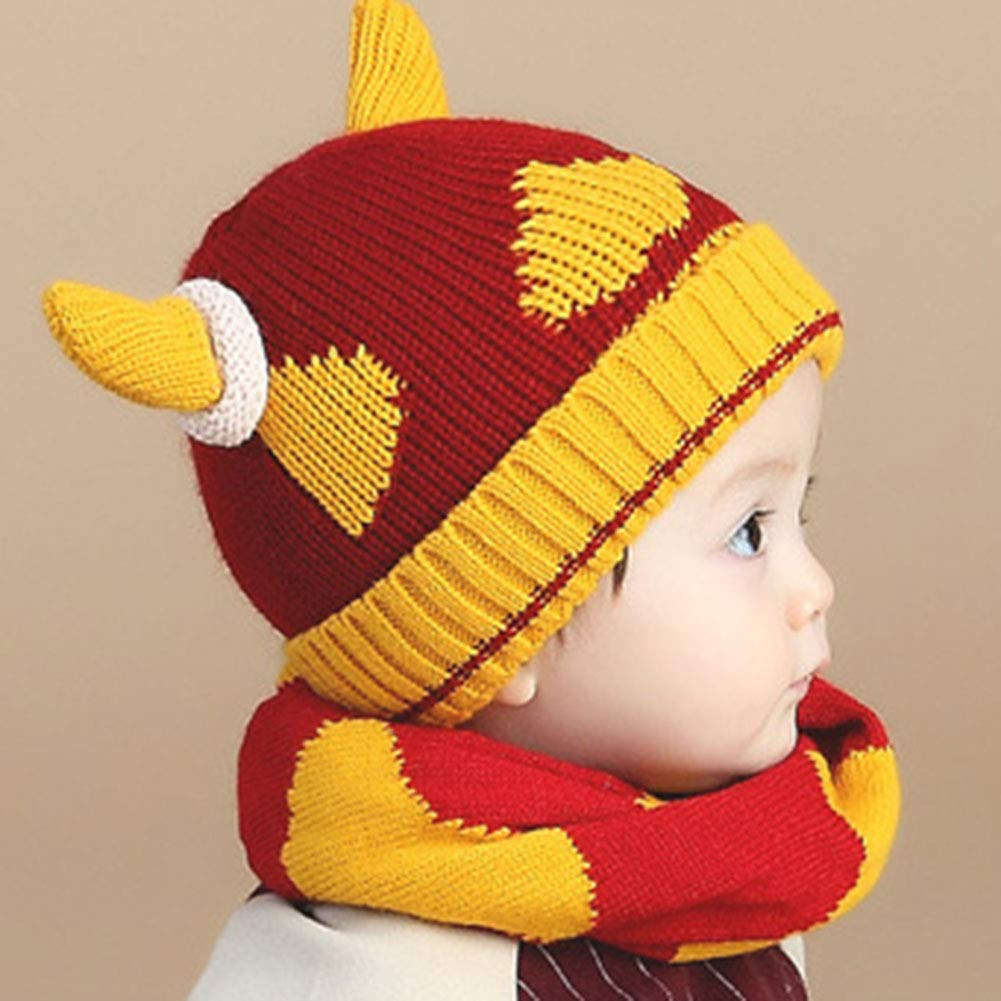 M/&A Baby Toddler Winter Warm Knit Beanie Hat Scarf Cute Horn