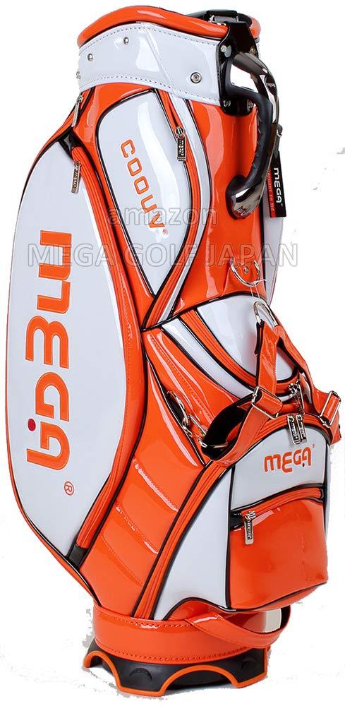 保冷ポケット付き メガ ゴルフ 芽が出る ツアー モデル キャディバッグ 9型 MGT-CB1905 B07RSQK752 ホワイト/オレンジ