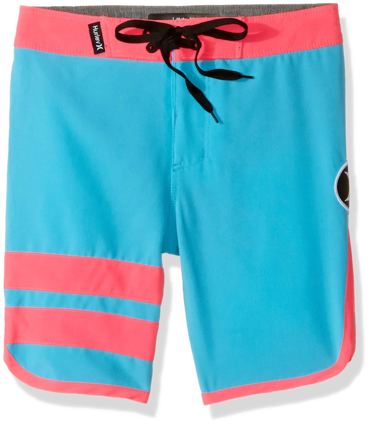 Hurley Little Boys' Block Party Boardshort, Chlorine Blue/Pink, 7