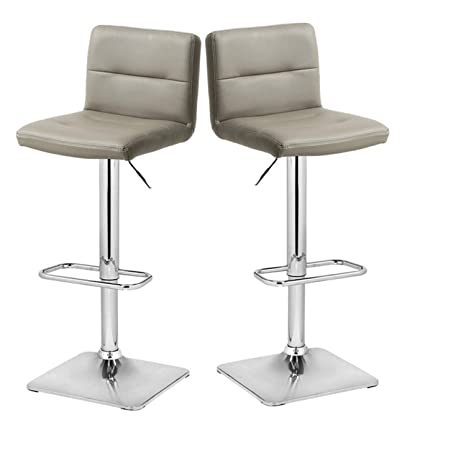 Incredible Xinghao Modern Swivel Barstools With Chrome Base Adjustable Counter Height Bar Stool Taupe Pu Leather Padded With Back Set Of 2 Hold Up To 350Lb Pabps2019 Chair Design Images Pabps2019Com