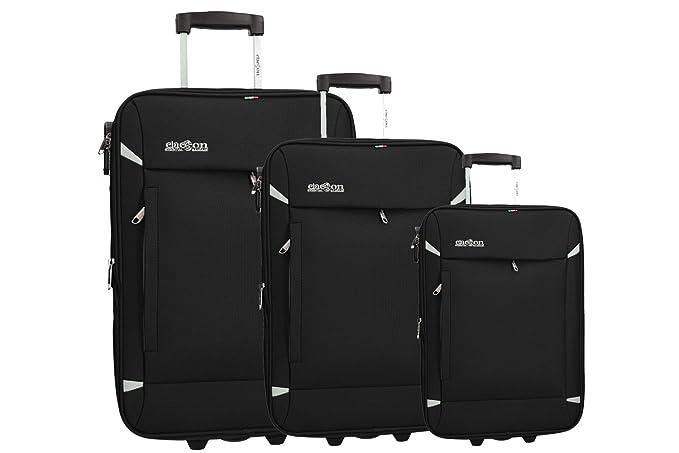 CLACSON 3 Maletas semirrígidas negro cabina para viajes VS277: Amazon.es: Ropa y accesorios