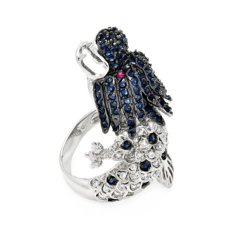 Multi Color Cubic Zirconia Dragon Ring Rhodium Plated Sterling Silver Size 6