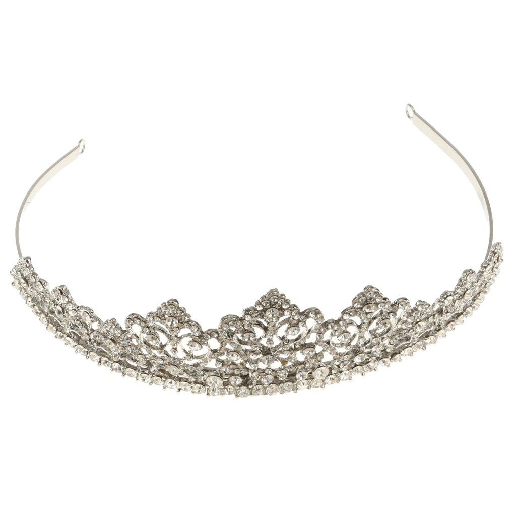 Bridal Prom Pageant Diamante Crystal Hair Tiara Wedding Crown Veil Headband Generic STK0156005624
