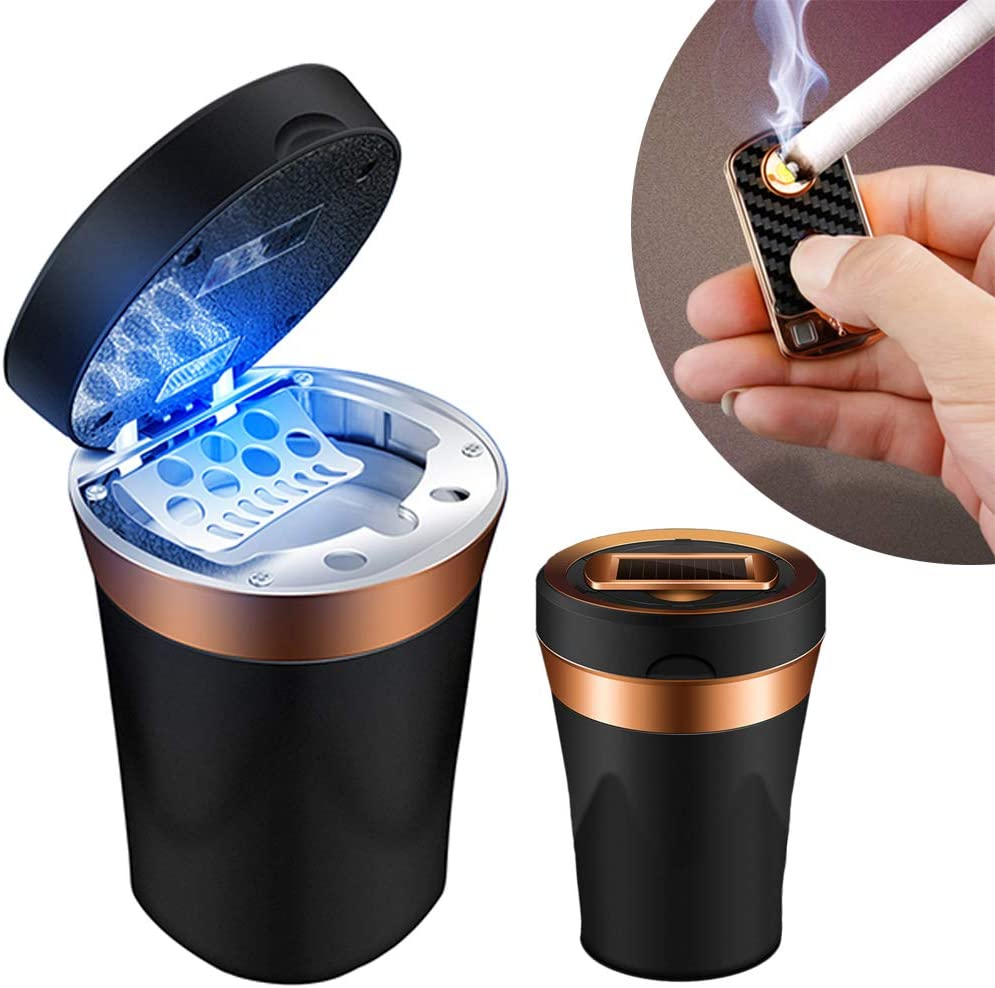 Office and Travel for Most Car Cup Holder Home Elesky Car Ashtray with Lid Blue LED Light Indicator for Car Easy Clean