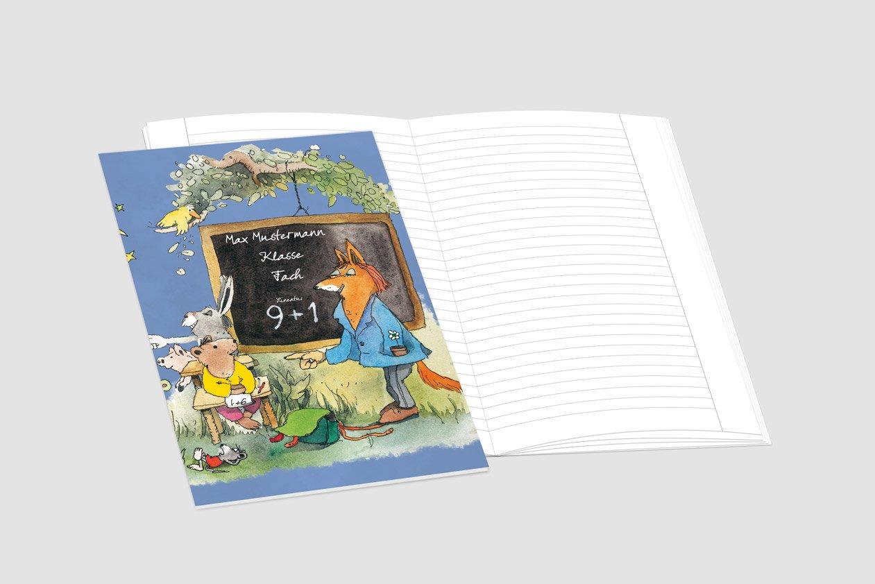 24 24 24 lustige JANOSCH-Schulhefte A4, »Fröhliche Schulstunde«, Lineatur 27, MandarinOrange, personalisierbar, 32 Seiten B0784S47VK | 2019  38555b