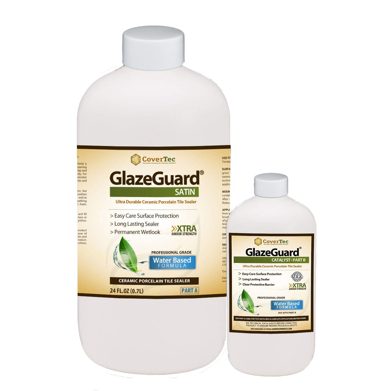 GlazeGuard Satin Floor Sealer Wall Sealer for Ceramic, Porcelain, Stone Tile Surfaces (1 Qrt - Prof Grade (2) Part Kit)