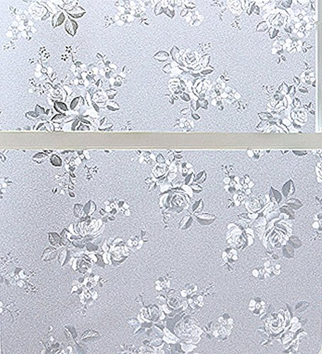 Amao Rose Frosted Window Films Privacy Static Cling Vinyl Decorative Glass Film for Bathroom Balcony Bedroom 17.7-by-78.7 Inch