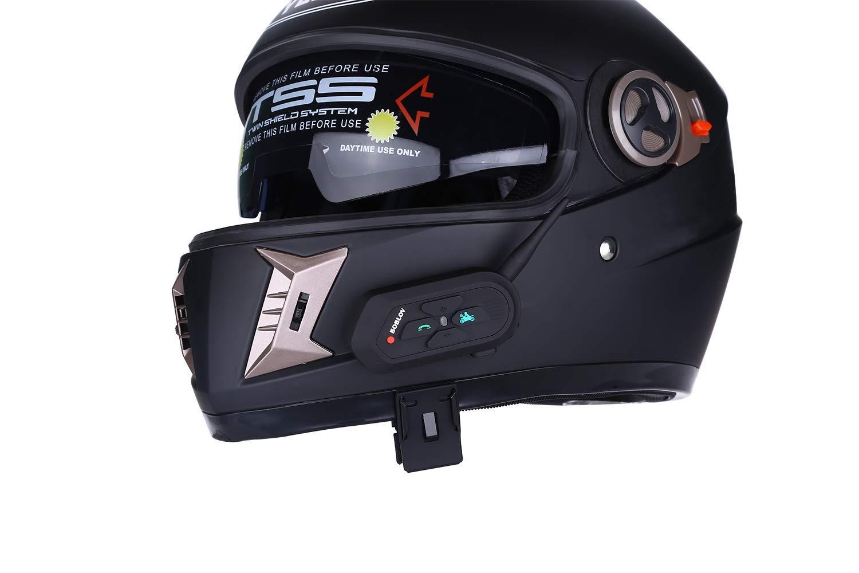 Boblov V6 PRO Impermeabile 1200m Wireless Interphone Cuffie interfoniche Blutooth con Mic Aggiornato Interfono Casco Moto