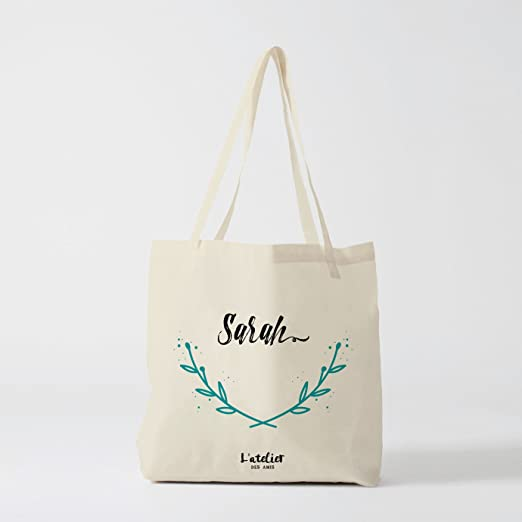 DKISEE - Bolsa de algodón reutilizable para boda, ecológica, informal, bolsa de compras, bolsa de hombro, algodón, lino, T021, 15