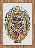 Tiger Area Rug by Ambesonne, Large Cat Crossing from Vintage Frame Japanese Design Exotic Adventure, Flat Woven Accent Rug for Living Room Bedroom Dining Room, 5.2 x 7.5 FT, Royal Blue Pale Brown