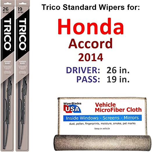 Amazon.com: Wiper Blades for 2014 Honda Accord Driver & Passenger Trico Steel Wipers Set of 2 Bundled with Bonus MicroFiber Interior Car Cloth: Automotive
