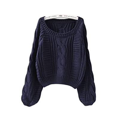 Snowsuing Women Sweaters Pullovers Lantern Sleeve Short Sweater Loose Pull  sw96 Dark Blue One Size 7ba7835b6