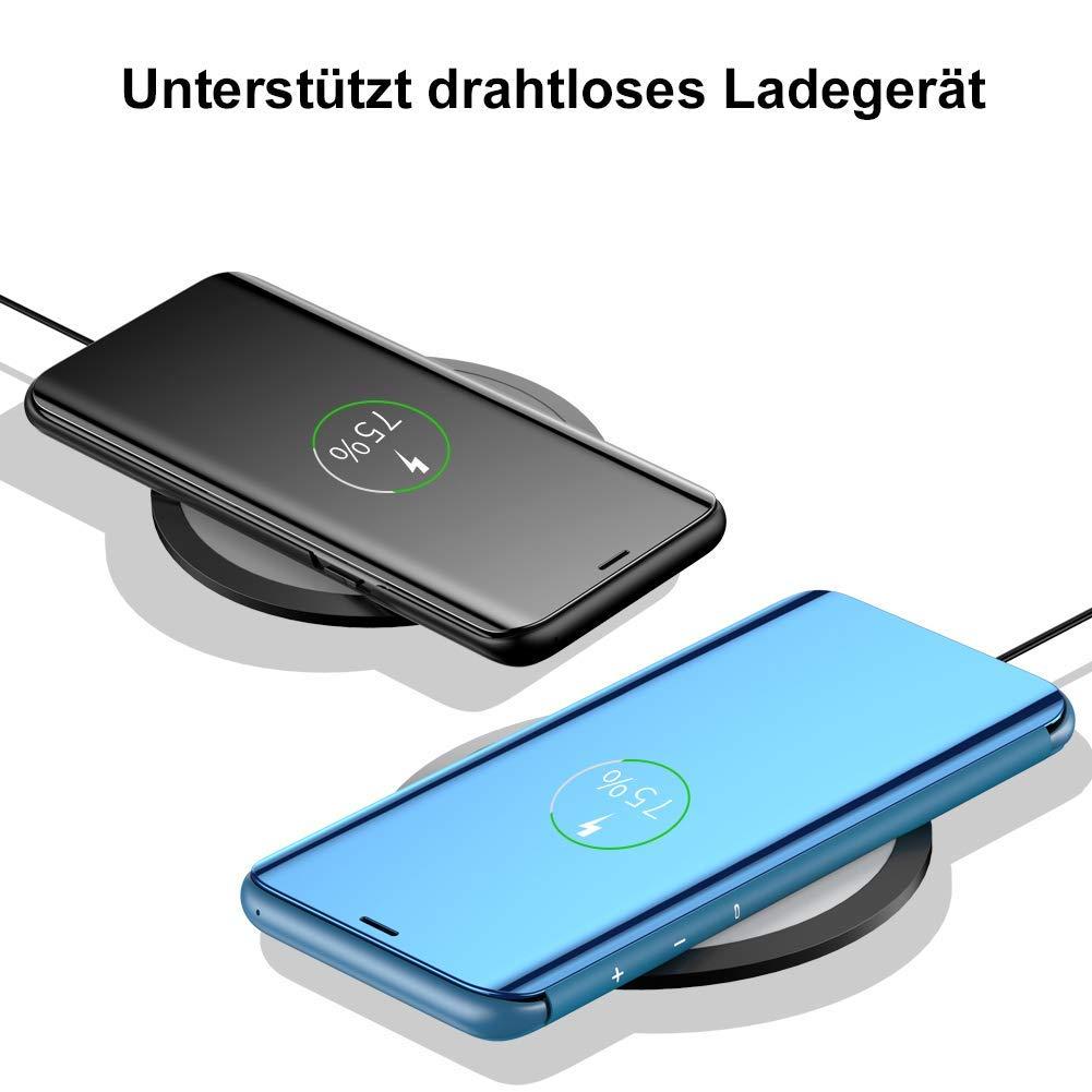 H/ülle Kompatibel mit Galaxy S10 Galaxy S10 Plus Handyh/ülle Spiegeln PU Leder Flip H/ülle St/änder Clear View Spiegel /Überzug PC Schutzh/ülle mit Hart Standfunktion Galaxy S10 Plus, Blau