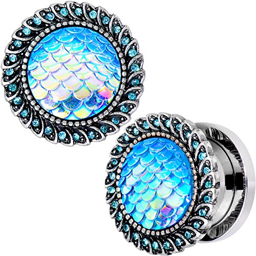 Body Candy Steel Brilliant Blue Accent Blue Mermaid Scale Screw Fit Plug Set of 2 (Agate Ear Plugs)