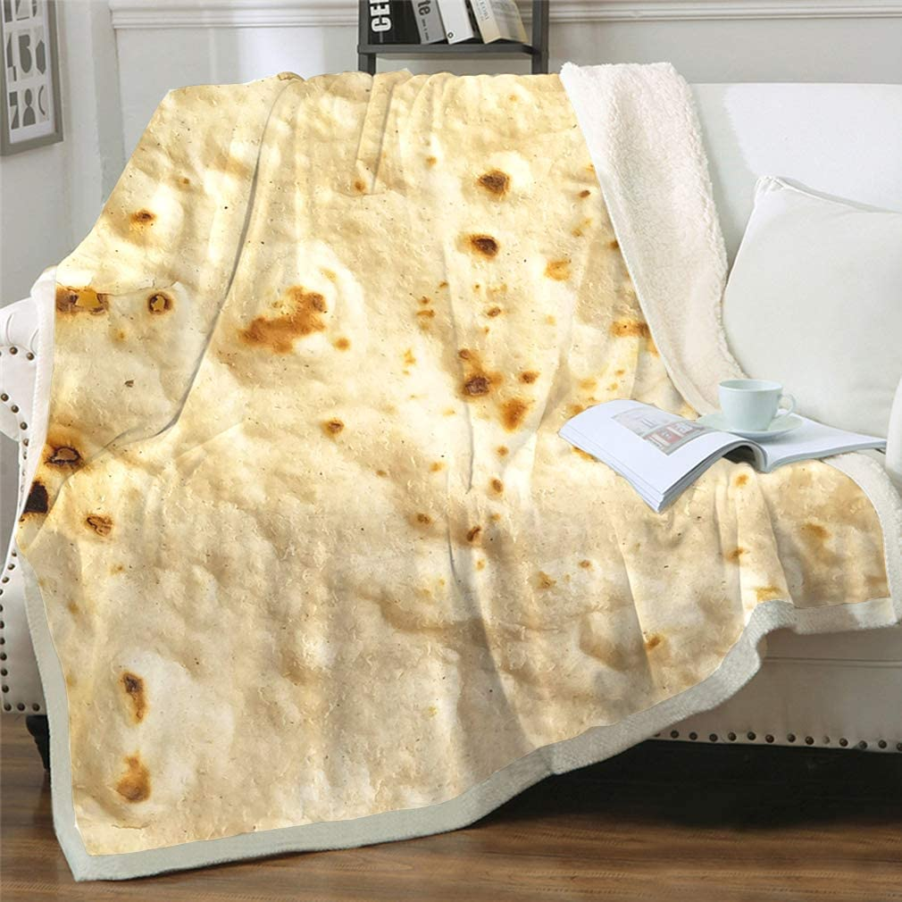 Jurllyshe Burritos Tortilla Blanket, Reversible Sherpa Fleece Blanket for Adult and Kids, Realistic Food Throw Blanket, Thick Plush Fuzzy Blanket for Bed Couch Sofa Four Seasons (2, 50